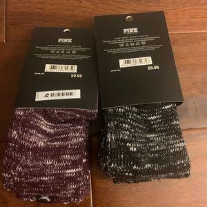 VS Pink Knit Crew Socks 2 Pairs 1 Black 1 Wine NWT